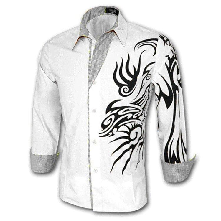 Spring New Style Men Cotton Shirt Chinese-style Dragon Design Long Sleeve Shirt Spell Pattern MEN'S Shirt C03