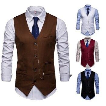 ZOGAA business vest waistcoat men Leisure 4 colors formal for 2019 new plus size S-2XL Cotton mens