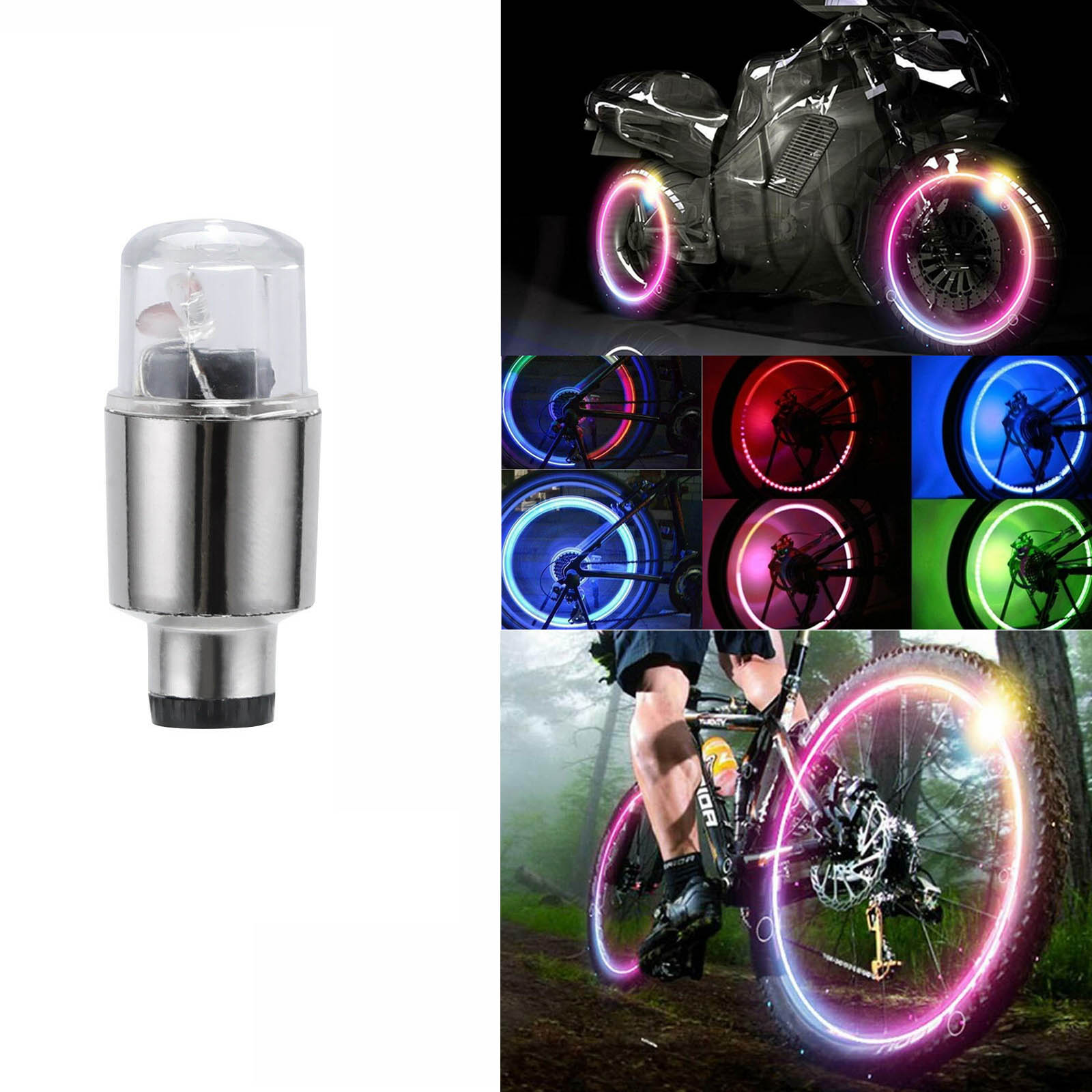 LED Car Bike Wheel Tire Tyre Valve Dust Cap Spoke Flash Lights Car Valve Stems Caps Accessories 4 Color Red Blue Green Lamp