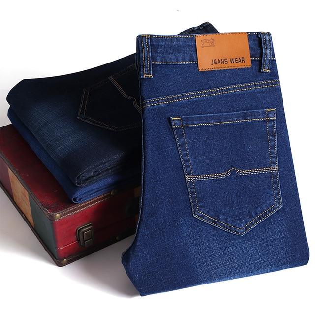 Brand 2020 New Men's Fashion Jeans Business Casual Stretch Slim Jeans Classic Trousers Denim Pants Male Black Blue 3