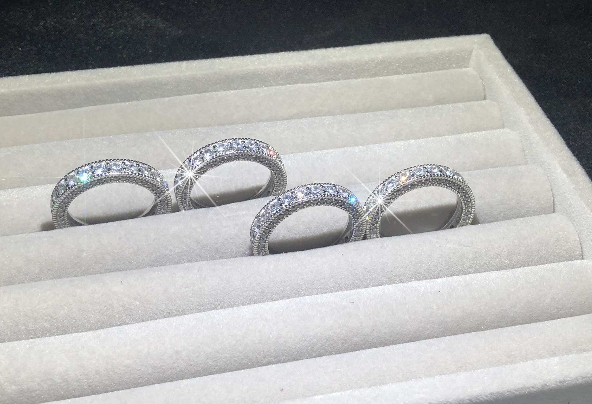 Vintage Style Women Rings Simulated Diamond Platinum Solid Sterling 925 Silver Wedding Band Eternity Ring Jewelry Wholesale