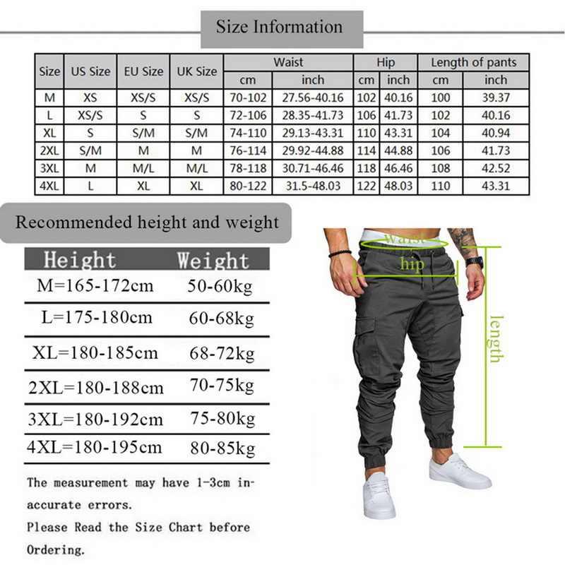 DIHOPE חדש 2020 רצים מכנסיים מוצק צבע גברים כותנה אלסטי ארוך מכנסיים מטען צבאיים מכנסיים חותלות אופנה