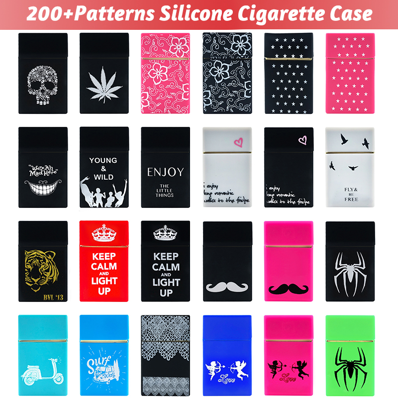 Holds 20 Cigarettes Personality Silicone Cigarette Case Fashion Cover Elastic Rubber Portable Man Women Cigarette Box Sleeve