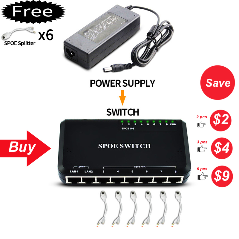8 Port POE Switch Ethernet With 90W Power Adapter For Network IP Cameras Or Wireless AP/ 6 PoE Splitter Suitable For CCTV