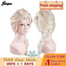 Cosplay Wig Long Braided Ebingoo Hairpins Blonde Synthetic Elsa for Kids Halloween