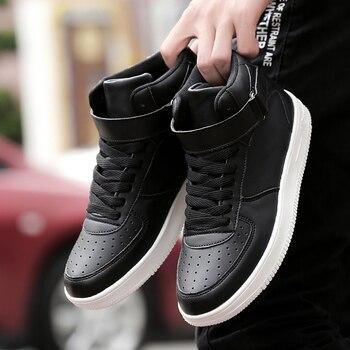Marca de Moda Masculina Sapatos Casuais High Top Sneaker 2019 Outono / Inverno Novos Homens Sapatos de Alta Qualidade Antiderrapante Sapatos de Caminhada Zapatillas 1