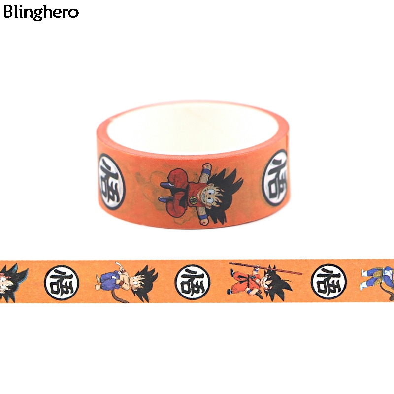 Blinghero Dragon Ball Tape 15mmX5m Anime Cartoon Washi Tape Vintage Masking Tape Adhesive Tapes Decorative Tapes For Kids BH0470