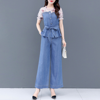 2020 Summer Floral Chiffon Patchwork Jeans Top and Denim Wide Leg Pants Suit Women Sets Clothes Female Two 2 Piece Casual Suits