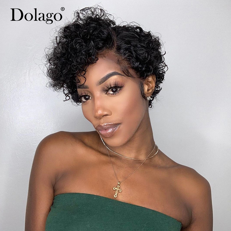 Pixie Cut Lace Wig Blunt Cut 4x4 Bob Lace Closure Wigs Short Human Hair Wigs Curly Lace Front Human Hair Wigs Dolago Wigs