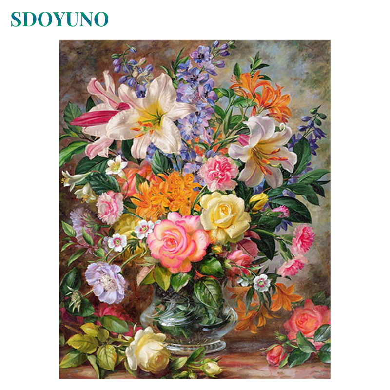SDOYUNO DIY Painting By Numbers For Adults Flower 60x75cm Picture By Numbers On Canvas Frameless Home Decor Rose Unique Gift