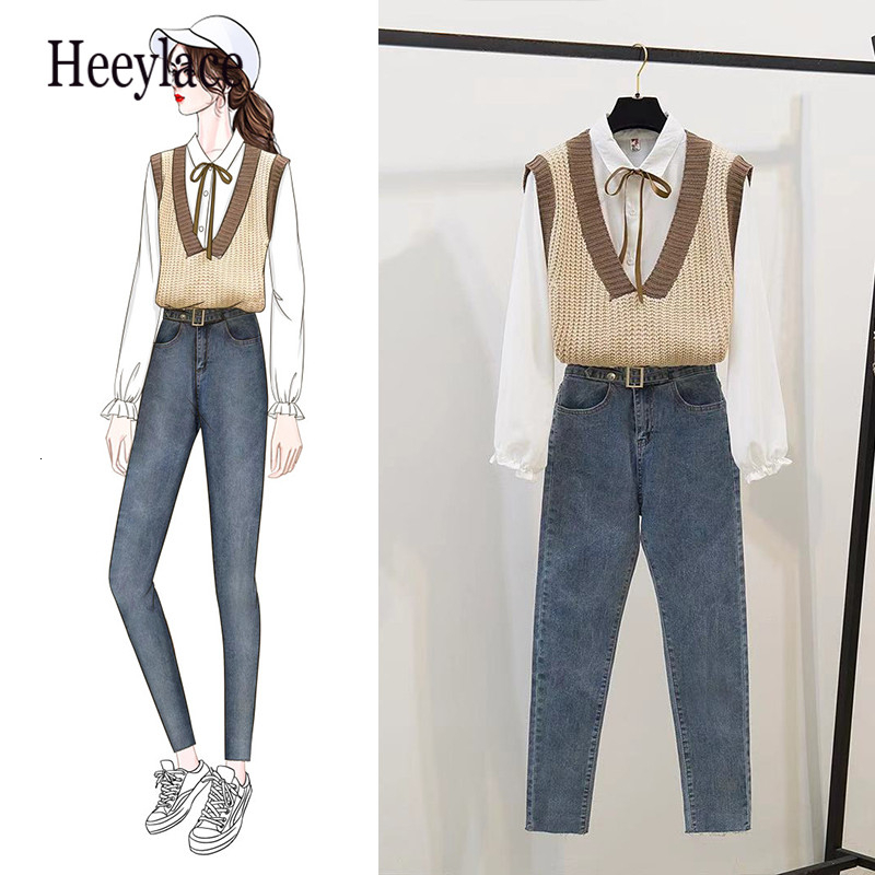 Office Ladies Shirt Vest Knit Elastic Denim Foot Height Of Pants Student Uniform Women Casual Outfit Leisure Clothing Set