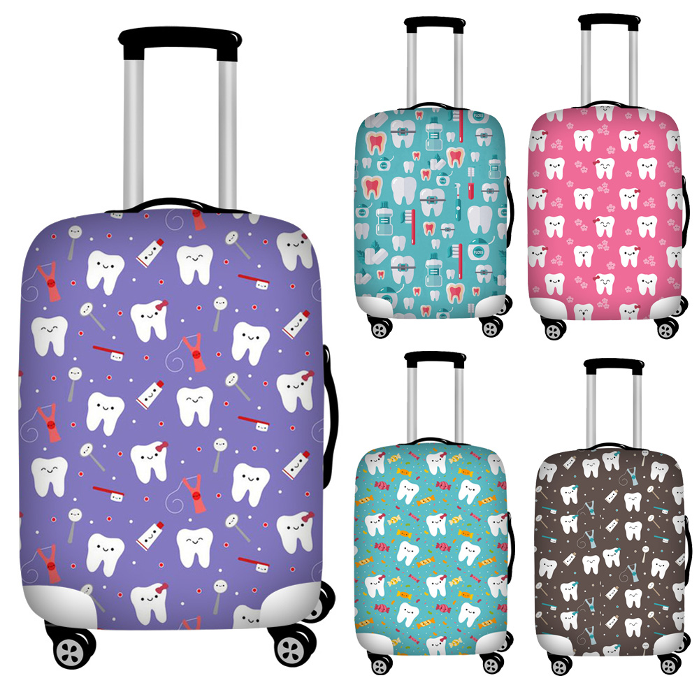 Twoheartsgirl  Dental Equipment Print Travel Thicken Luggage Protective Cover Suitcase Waterproof Case Bag Covers For 18-32 Inch