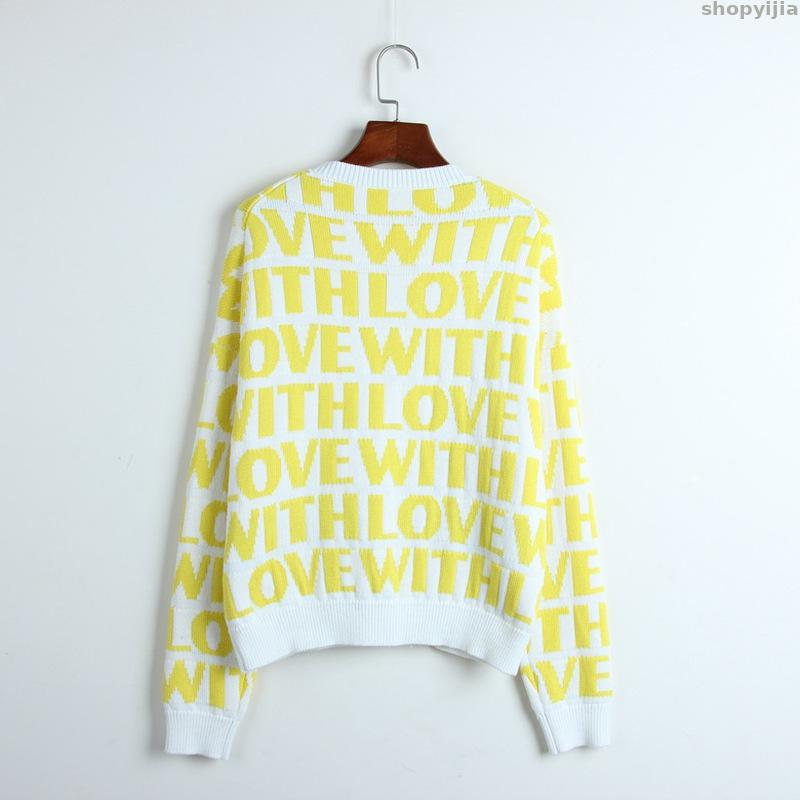 New Lady Knit Pullover Long Sleeve Winter Cool Runway Sweater Top Thick Lady Sweater Love Letter Pattern Jacquard Sweater - 3