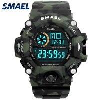 Digitale Uhr Männer Led-anzeige SMAEL Männliche Uhr Sport Uhren für Männer Wasserdicht relogio masculino1385C Weiß Digitale Uhren Männer