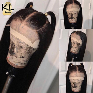 Image 3 - KL dantel ön İnsan saç peruk düz ön koparıp bebek saç 8 26 brezilyalı Remy 130% yoğunluklu 5 Derin bölümü T parçası dantel peruk
