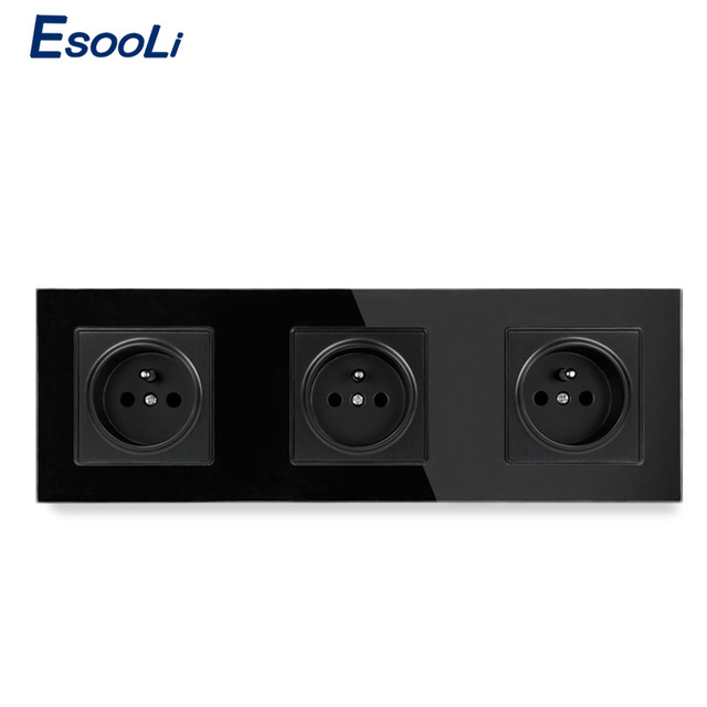 Esooli Crystal Glass Panel French Standard Wall Socket 258*86mm Power Socket Plug Grounded 16A Black Electrical Triple Outlet