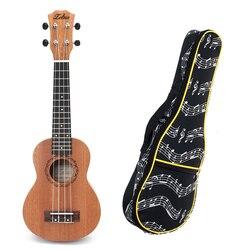 Primavera 21 Polegada 15 Frets Mahogany Soprano Ukulele Guitarra Sapele Rosewood 4 Cordas Saco Ukulele Guitarra Havaiana E 21 Polegada kit