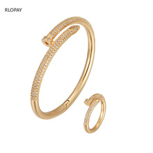 New Trendy  Nail Bracelet and Ring Set  with Cubic Zirconia Tension Mount  Fashion Cuff Bracelets Solid Gold Bracelet with Ring trendy solid color nail shape cuff bracelet for women