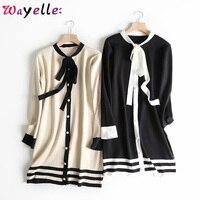 Korean Elegant Women Sweater Dress 2019 Autumn Winter New Chic Bow Tie Hit Color Knitted Sweater Dress Girls Office Lady Dress