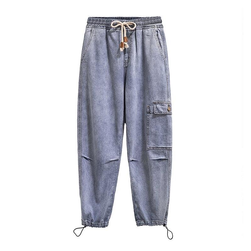 Women Jeans Plus Size Drawstring Cotton Soft Loose 2020 New Mom Denim Ankle-length Harem Pants
