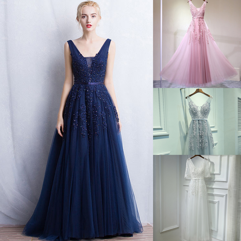 New Elegant Women's Banquet Ball Dress Marriage Bridesmaid Of Fame Party Dress Bridesmaid's Dinner Lace V Leader's Dress