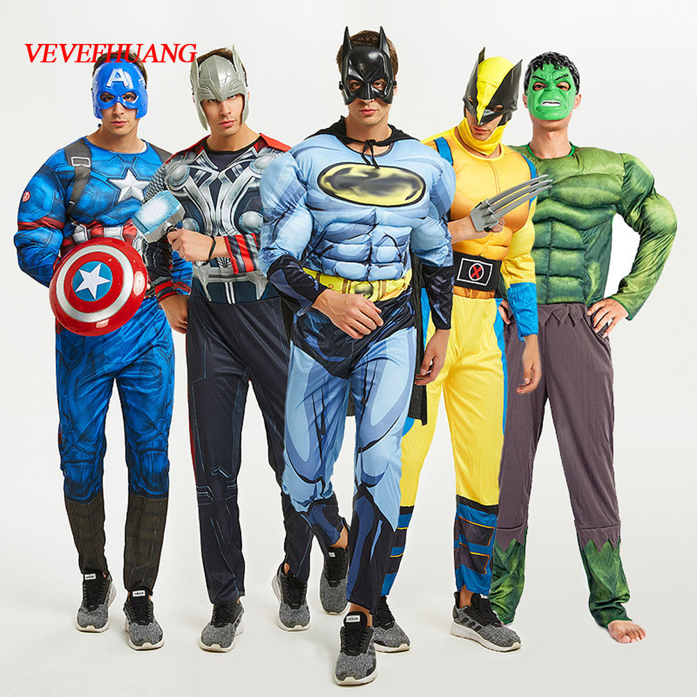 VEVEFHUAG SuperHero Avengers Endgame Clothes Jumpsuit Captain America Superman Batman Hulk IronMan Thor Muscle Cosplay Costumes