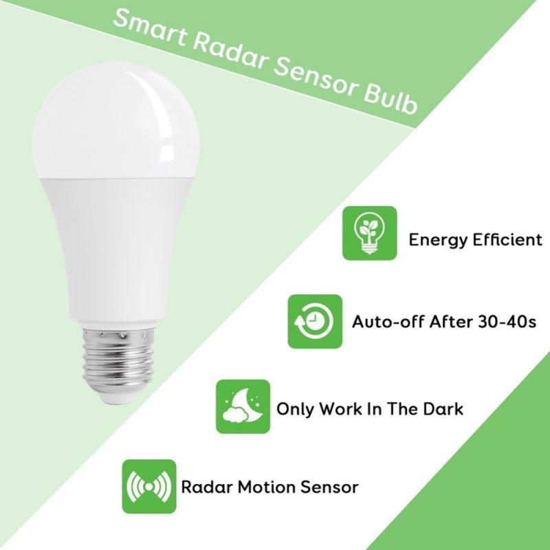 LED Bulb Motion Sensor Lamp 220V Led Bulb  E27 Sound+Light Auto Smart Radar Detecting Technology Motion Sensor Lights Drop Ship