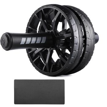 Ab koła sprzęt do ćwiczeń dla domowa siłownia bez hałasu obręcz na brzuch Roller do ćwiczeń brzucha z mata do ćwiczeń mięśni Hip sprzęt do ćwiczeń tanie i dobre opinie CN (pochodzenie) 6-second trener brzucha Belly Ab Roller Dwukrotnie kółkach Black 30*15cm 11 81 *5 91 (L*D) ABS+EVA+stainless steel tube+ foam