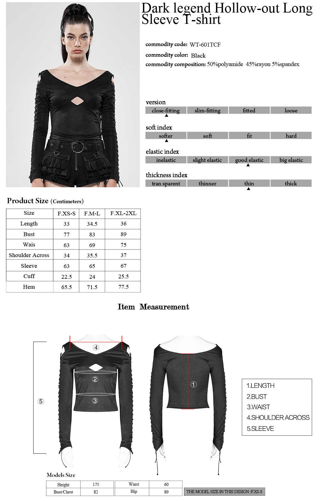 Punk Rave Steampunk Hollow-Out Black Elasticity t-shirt manica lunga Top