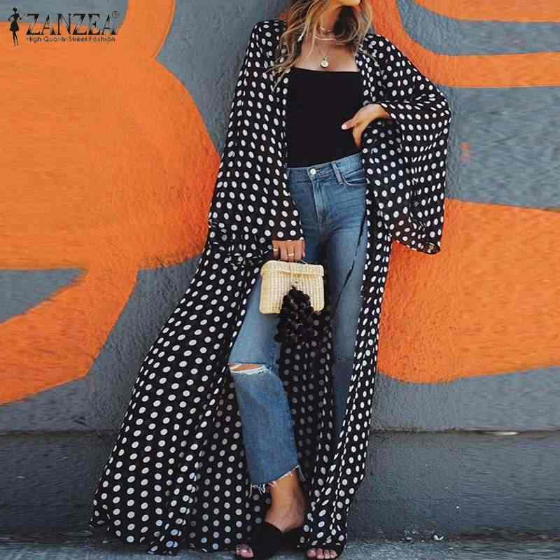 Zanzea 2020 summer women 폴카 도트 가디건 여성 패션 긴 셔츠 여성 캐주얼 블라우스 튜닉 탑스 blusas chemiser mujer