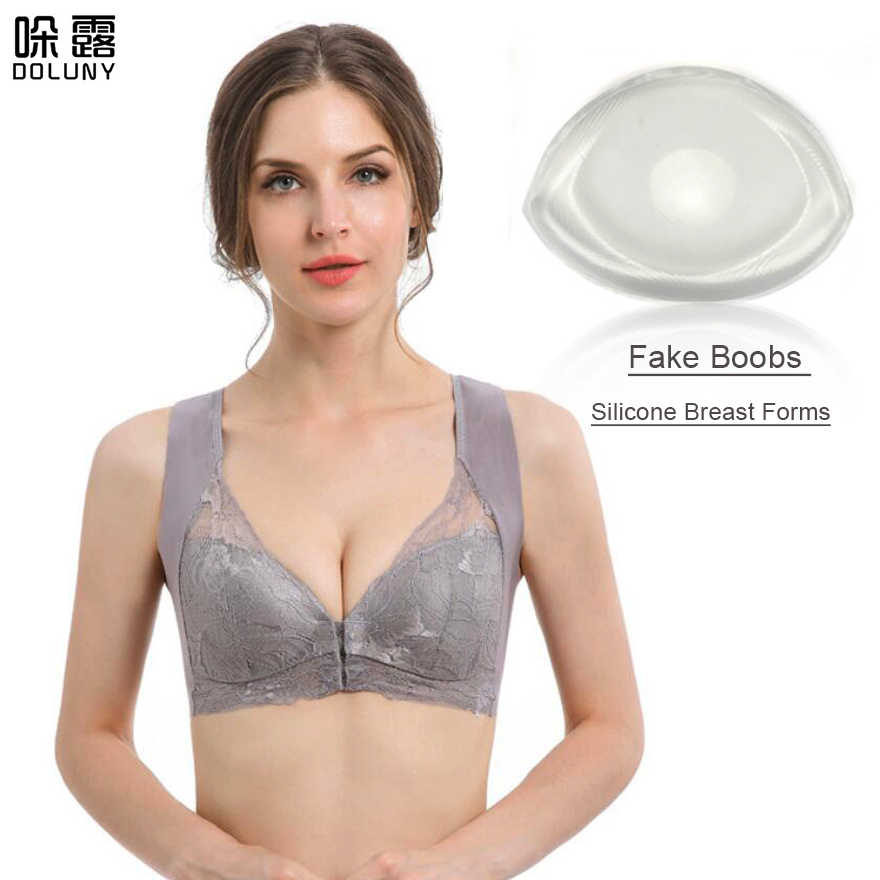 Cinza Sutiã Mastectomia de Mama de Silicone Formas de Mama de Silicone Sutiã com Bolso e Transparente Pad Falso Prótese de Mama D30