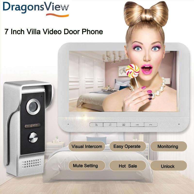 Home Intercom Video Door Phone 7 Inch Intercoms Monitor 1000TVL Night Vision Waterproof Doorbell Camera Access Control Unlock