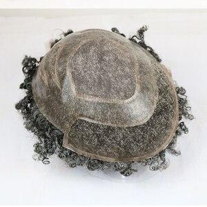 Image 3 - SimBeauty 10mm האפרו Mens פאה 10x8 אינץ החלפת שוויצרי תחרה וpu פאה לגברים רמי שיער טבעי mens פאה