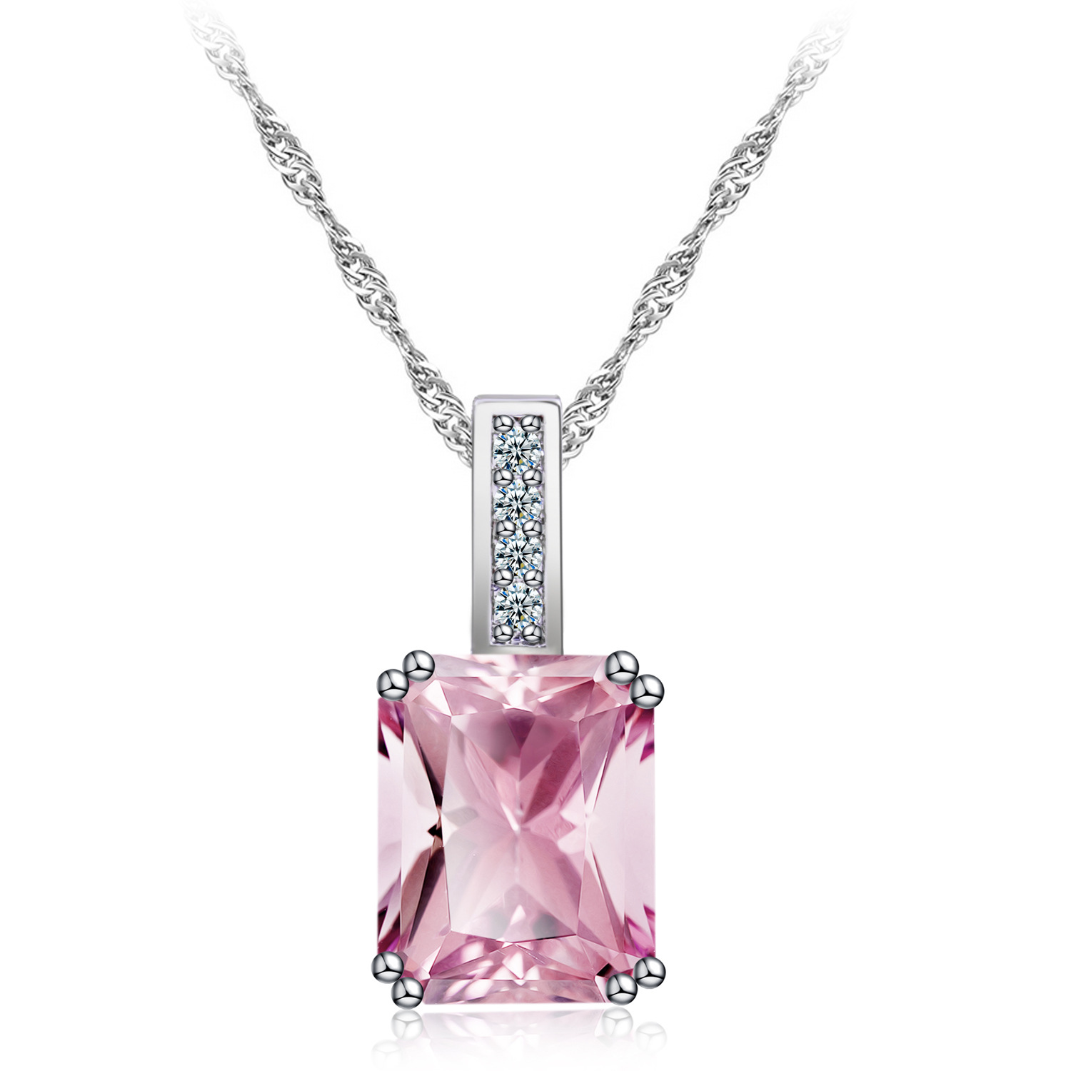 Korean Style Necklace Ornament Pink Party Zirconium Necklace Foreign Trade Hot Sales Accessories Necklace Manufacturers Wholesal