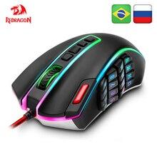 Проводная игровая мышь Redragon LEGEND M990 USB RGB 24000 точек/дюйм, 24 кнопки, программируемые Игровые мыши с подсветкой, Эргономичный ноутбук, компьютер