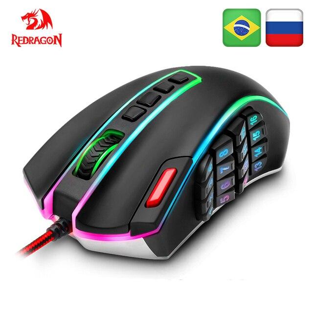 Redragon LEGENDE M990 USB verdrahtete RGB Gaming Maus 24000DPI 24 tasten programmierbare spiel mäuse hintergrundbeleuchtung ergonomische laptop PC computer