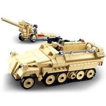 sluban 0695 460pcs military k18 105mm cannon artillery half-track vehicle ww2 world war ii building blocks 3 figures Toy