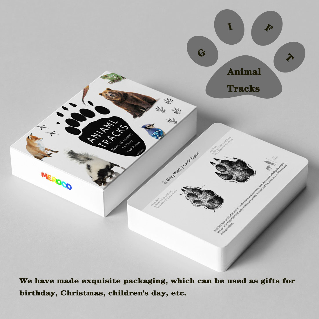 Montessori Material Animals  Footprints Flash Cards Montessori English Learn Card Early Educational Toy Memory Game for Children 2
