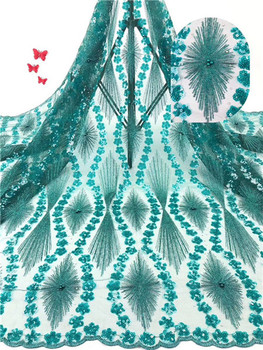 Graceful green party dress cloth French tulle net lace fabric with beads PDN590(5yards/lot)