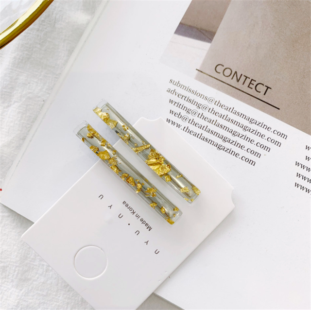 1 Pair Korean Gold Foil Hairpin Acetate Hair Clip For Women Girls Barrettes Hair Accessories Gifts Hair styling Tools New Arrive 3