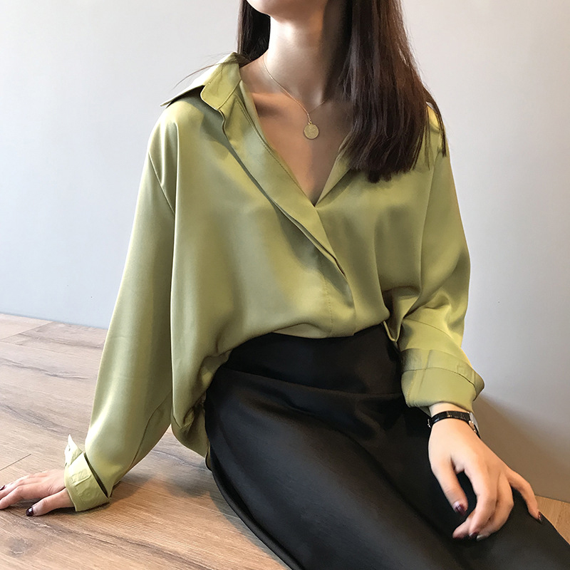 Casual Loose Long Sleeve Blouse Women Shirt V-Neck Top Satin Silk Solid Blouses Shirts Tee Shirt Feminist