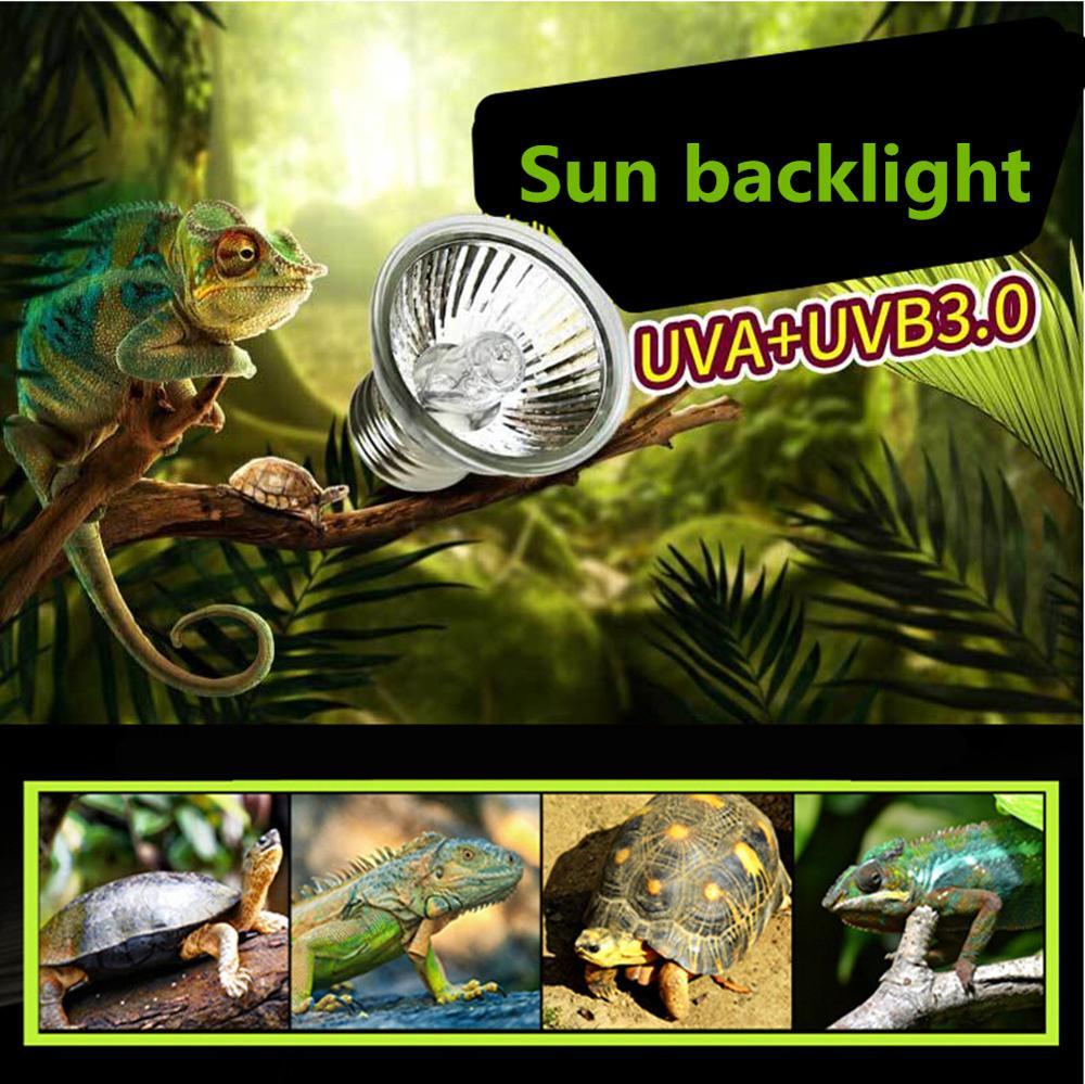 UVA+UVB 3.0 Reptile Lamp Bulb Turtle Basking UV Light Bulbs Heating Lamp Amphibians Lizards Temperature Controller