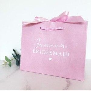 Персонализированный розовый Подарочный пакет с лентой. Подарочная сумка подружки невесты. Сумка для девочки с цветами. Свадебные вечерние ...