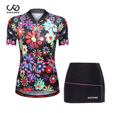 WOSAWE Summer Women Cycling Jersey Mini Skirt Bike set Breathable Bicycle Short Sleeve Jersey Sets Printing Cycling Clothing wosawe cycling jersey sets winter thermal sports pro jersey triatlon bike bicycle clothing jackets pants men women