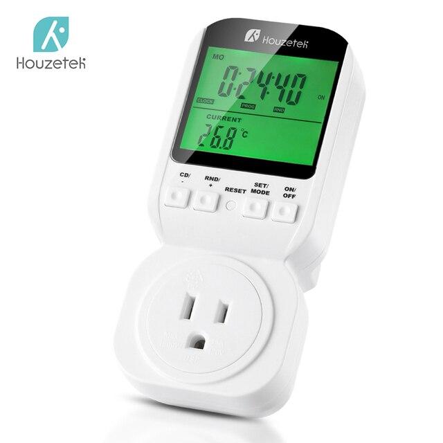 Thermostat Timer Switch, Houzetek 20 ON/OFF Programmer Digital Timer Automatic Temperature Electric Socket US Plug