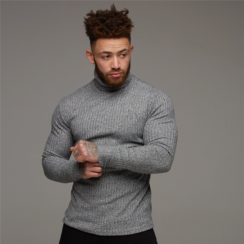 New 2019 Winter Turtleneck Sweaters Men Fashion Solid Stripe Knitted Mens Sweaters Sports Slim Pullover Male Double Collar Tops