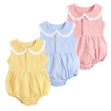 Sanlutoz letnie bawełniane body dla niemowląt noworodka słodkie kratę odzież dla dziewczynek bez rękawów księżniczka maluch niemowląt body tanie tanio CN (pochodzenie) Lato COTTON moda W wieku 0-6m 7-12m 13-24m 25-36m BRS1057 Plaid baby Z okrągłym kołnierzykiem Dobrze pasuje do rozmiaru wybierz swój normalny rozmiar