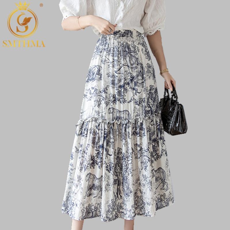 SMTHMA  Runway Women Long Skirt Animal Printing High Waist Pleated Cotton Skirt European Designer Luxury Party Maxi Skirt