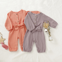 New Baby Girls Linen Romper Jumpsuit Playsuit Autumn Spring