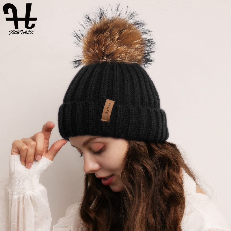 Furtalk Knitted Real Fur Hat 100% Real Raccoon Fur Pompom Hat Winter Women Hat beanie for women 2019 Soft Warm Female Fur Cap